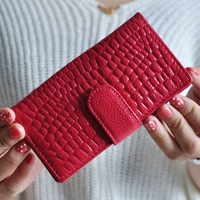 free shipping 2014 new fashion colorful genuine leather cow leather long wallet money  purse with  CL-168