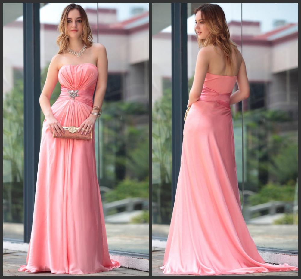 elegante vestido barato breve damas-de-rosa vestidos longos wedding party dress 2014 novo simples vestido para madrinhas z0089(China (Mainland))