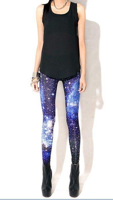 2015 FASHIONPRINT Women Personality Cosmic Space print pants Black Milk Silk Shiny Pants free shipping(China (Mainland))