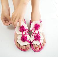 Summer Shoes Women Flats Women Sandal  Bohemia 2014Sandals Female Beaded Flower FLat Flip-flop flats Women's Shoes Free shipping