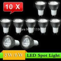 10 pcs GU10 3W 6W LED Spot Light Bulb Lamp AC85~265V White/Warm White Spotlight Free Shipping