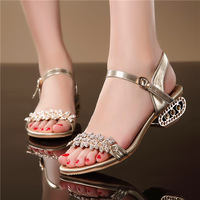2014 new brand Women's Sandals gold Free shipping casual flats US size 4-7.5 rhinestone cow muscle abnormal heels flower