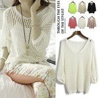 HOT! Solid Color Thin Blouse Half Sleeve Hollow Out Loose East Knitted Crochet Pullover Sweater Tops Air-conditioned Shirt