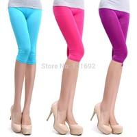 Hot new 2014 leggings Casual Women Ladies Seamless Yoga Solid Stretch Skinny Cropped To Calf women legging leggins Half Pants