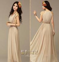 Women Summer dress 2014 new Apricot Black Lace Short Sleeve Patch Chiffon V neck Party Evening Maxi Dresses Vestidos
