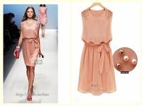 2014 New Summer Cute Women Sleeveless Dresses Chiffon Pleated Bow Dress Vestidos Pink party dresses Dorp shipping