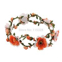 Free Shipping 1pcs  2014 New Bridal Girl  Artificial  Fabrics Silk Elastic Wedding Flower Crow Headband For  Women