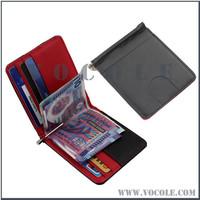 Mens Wallet Money Clip Spring Leather Front Pocket Wallet 11 Cards Red