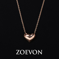 New Arrival Simple Rose Gold Plated Polished 3 Dimensional Puffed Heart Charm Jewelry Pendant & Necklace For Women (GN068A-1)