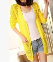Fashion casual pocket long cardigan women new spring 2014 knitted sweater nine points sleeve plus size women outwear cardigans