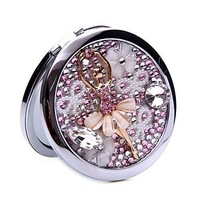 Gift Mini Beauty pocket mirror portable double Dual sides stainless steel frame cosmetic makeup Normal + Magnifying
