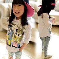 5pcs/lot New 2014 Boys Girls Long Sleeve Cotton Fashion Cartoon Shirts For Spring Autumn