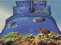 Unique 3D Tropical fish bedding sets queen size 4pcs Ocean quilt/duvet cover bed linen Children bedclothes cotton home textile