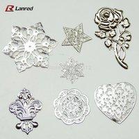 Free Shipping 50PCS Mixed Shapes 77mm-30mm Filigree Metal Embellishments Flowers Stick On Wedding Card Decorative