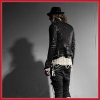 Funny cooldeal Hot Mens Punk Style Multi Zipper Faux Leather Motocycle Short Jacket Coat wholesale Fashion style