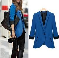 Free Shipping Fashion Womens Blazer Three Quarter-Sleeve Slim Fit Small Coat  Single Button 3 Size S-L  2WWX119