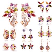 2014 Bamoer Newest Flowers zircon earrings For Women Girl Fashion Anniversary Jewelry hot sale new arrival lovely earrings