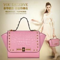 Wholesale - hot sale 2014 fashion women original calfskin leather gorgeous shell shape rivet women handbags