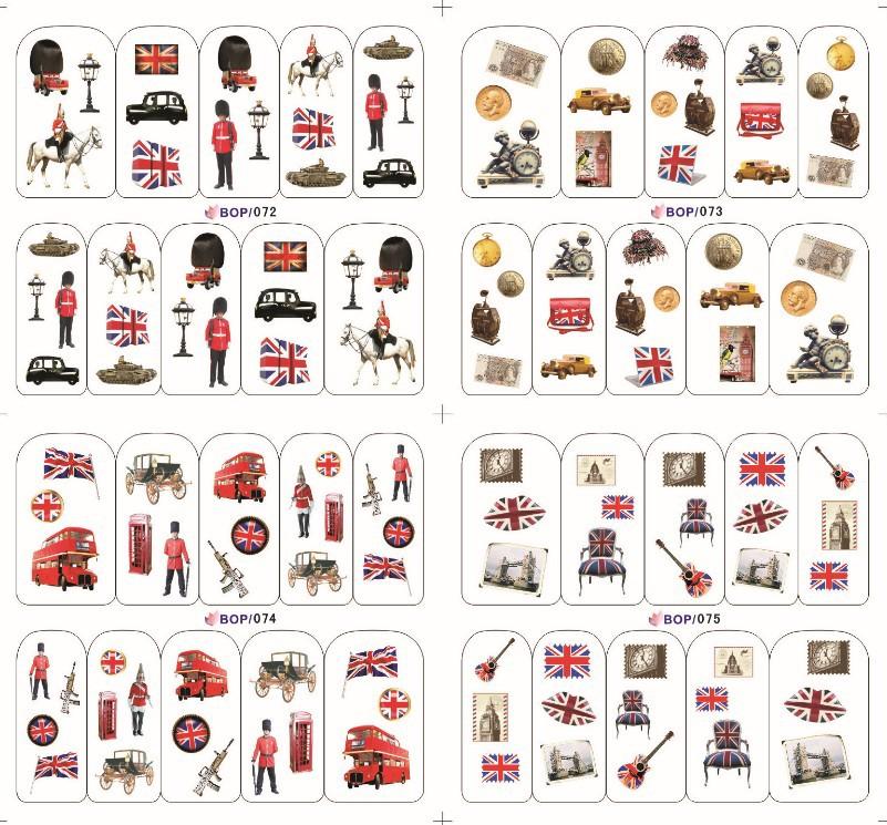 Free Shipping-New arrival British style / Modern Vintage Watermark nail art stickers nail polish strips 48pcs/lot(China (Mainland))
