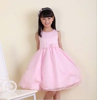 Frozen Limited Appliques Regular Solid New Summer 2014 Children's Pure Color Princess Chiffon Dress Sleeveless Lovely Girls