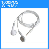 For iPhone5 5c 5s 4 4s 4g 3.5mm Earphone with Mic White 1000pcs/lot Express Shipping