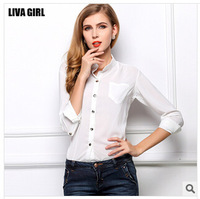 Women's casual bag big yards sunscreen render unlined upper garment of loose collar long-sleeved chiffon blouse