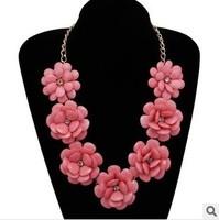 All-match Fashion Elegant Temperament colorful flower Pendant Necklace for Women