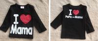 free shipping 1pcs/lot I love papa / I love mama baby shirt with long sleeve ,baby cloth, kid's t shirt