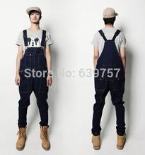 Macacao jeans para homens 2014 nova moda jardineira jeans frete grátis!!!(China (Mainland))