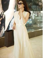 New Limited 2014  Free Shipping Women's vest dress elegant bohemia expansion bottom full long chiffon dress 2colors dress S.M.L