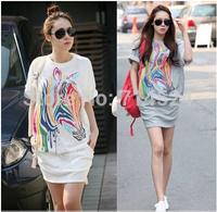 1pc/lot,plus size S-XXL,2014 New women Summer Spring fashion Korean Zebra Print Cotton casual Short Sleeve One-piece sport dress
