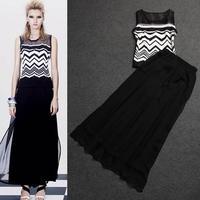 Brand Women Clothing set 2014 ladies summer runway fashion vintage wavy print sleeveless top + ankle length skirt casual twinset