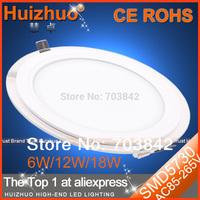 [Huizhuo Lighting ]Free Shipping 10pcs/lot SMD5730 6W/12W/18W AC85-265V LED Panel Light Aluminum with Glass Recessed LED Light