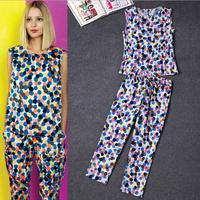 Brand Women Clothing set 2014 spring summer runway New Fashion multicolour polka dot print high quality top+pants silk suit set