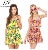 2014 Women Summer Tropical Flower Printing Chiffon Dress Sleeveless Beach Dresses