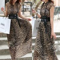 free shipping 2014 summer new  The Bohemian  Temperament leisure  Pleated  Leopard  Chiffon dress women     Long