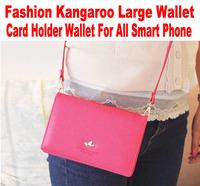 20pcs/lot DHL Free wallet for iphone 5 Galaxy S5 Note3 All Smart Phone Korean Fashion Kangaroo logo large card holder No: W002