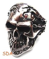 Size 7-13 Wholesale Gothic Men's Biker Demon Skull Skeleton Ring Man Personality 316L STAINLESS Fashion Jewelry SRM051