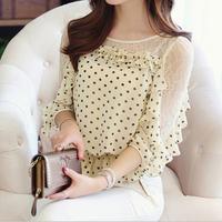 New 2014 Polka Dot Women Lace Blouse Small Waist Chiffon Blouses Women Half Sleeve Blouses Shirt TS1022