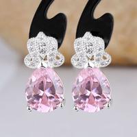 Women Pear Shape Stone 925 Sterling Silver Earrings Studs Mother Gift E083