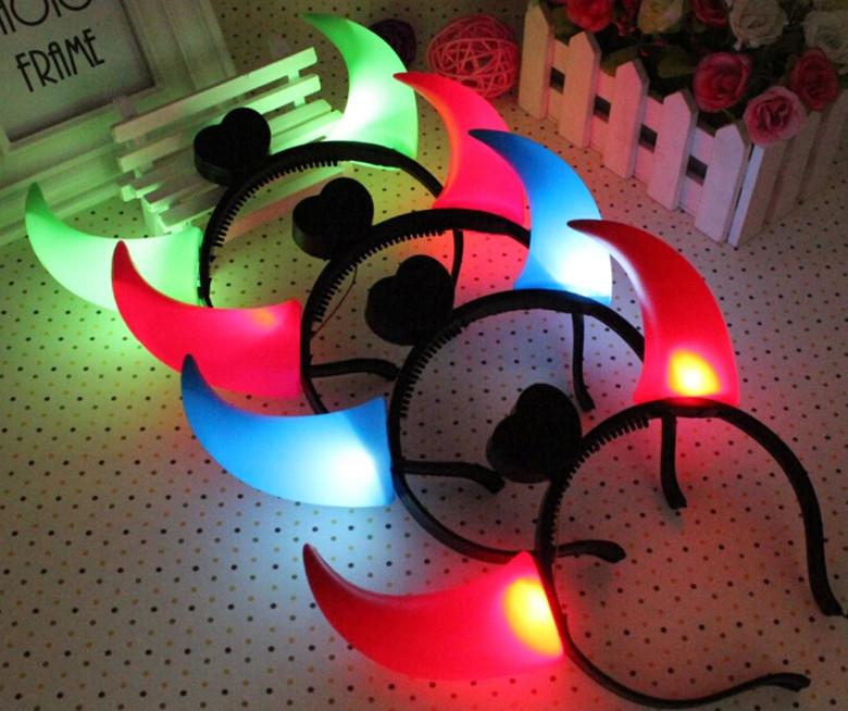 10pcs/lot Halloween Night Party Bull luminous horns head hoop flash horns light up LED flash toys props(China (Mainland))