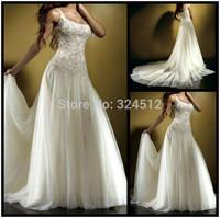 Classical European Spaghetti Straps Delicate Tulle Wedding Dress Romantic Lace Applique Wedding Gown