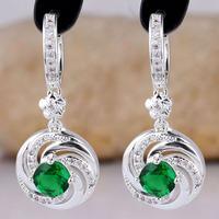 Women S925 Sterling Silver Earrings Round Huggie Dangle Green Emerald E084