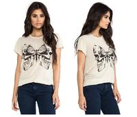 Skull large print of the white butterfly pattern round neck short sleeve T-shirt cotton slub women