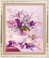 Free shipping language of flowers new arrival 3d ribbon embroidery paintings divisa cross stitch 60*50cm