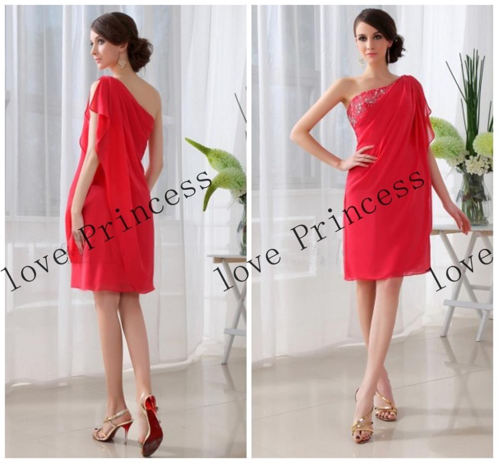 - ombro vermelho vestidos de baile plissado barato prom vestido curto vestido de festa de casamento 2014 p00473 new prom dress(China (Mainland))