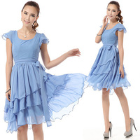 2014 Womens  summer bridesmaid  chiffon Asymmetrical rufflesi dress party dress evening dress Bohemian beach dress 5308