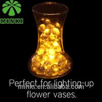 Coin battery powered Minki 12pcs flower shape  yellow mini water submersible led tea light for wedding event vase decoration