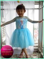Flysnow 2014 Summer new arrivals sky blue Frozen Dress Elsa lace dress best quanlity silk elsa dress