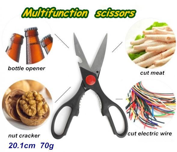 tesouras 20.1cm 70g Multifunction tesouras tesoura de aço inoxidável de cozinha abridor de garrafa quebra-nozes de cortar o frango cortar a carne(China (Mainland))